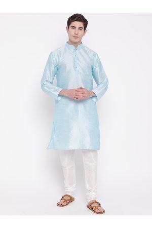Mag Men Blue & White Solid Kurta with Churidar