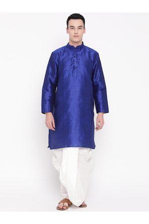Mag Men Blue & White Solid Kurta with Dhoti Pants