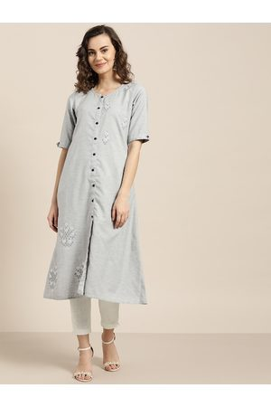 Jaipur Women Grey & White Embroidered Kurta with Trousers