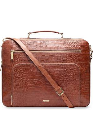 Hidesign Men Tan Brown Leather Textured Laptop Bag