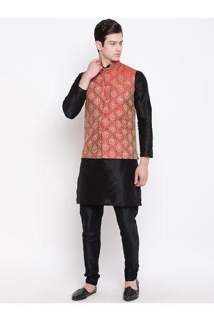 Mag Men Black & Maroon Self Design Kurta with Churidar & Nehru Jacket