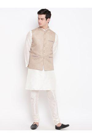 Mag Men Off-White & Beige Self Design Kurta with Churidar & Jute Nehru Jacket