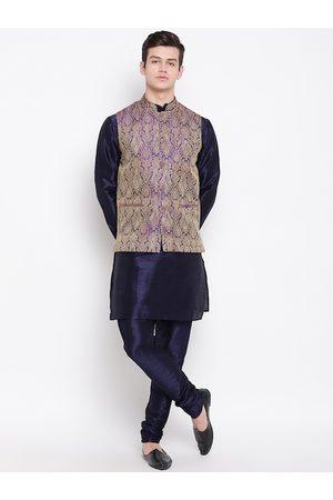 Mag Men Navy Blue & Purple Solid Kurta with Churidar & Nehru Jacket