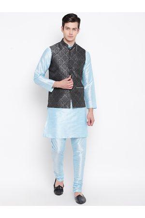 Mag Men Blue & Charcoal Grey Solid Kurta with Churidar & Nehru Jacket