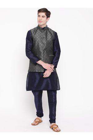 Mag Men Navy Blue & Black Solid Kurta with Churidar & Nehru Jacket