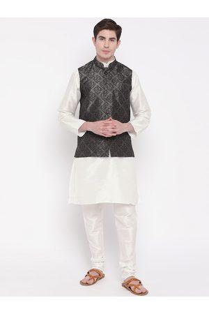 Mag Men White & Charcoal Grey Solid Kurta with Churidar & Nehru jacket