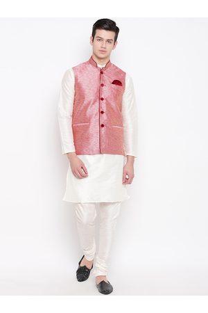 Mag Men Off-White & Pink Solid Kurta with Churidar & Nehru Jacket
