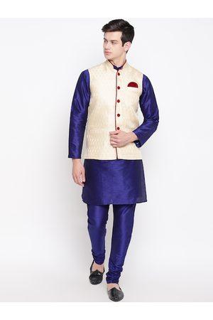 Mag Men Navy Blue & Cream-Coloured Solid Kurta with Churidar