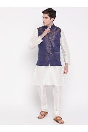 Mag Men White Solid Kurta with Churidar & Nehru Jacket