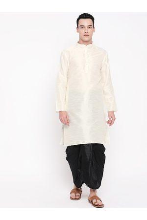 Mag Men Off-White & Black Solid Kurta with Dhoti Pants