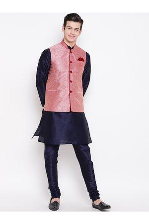 Mag Men Navy Blue & Pink Solid Kurta with Churidar & Nehru Jacket