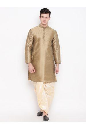 Mag Men Beige & Cream-Coloured Solid Kurta with Dhoti Pants