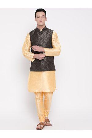 Mag Men Cream-Coloured & Charcoal Grey Solid Kurta with Churidar & Nehru Jacket