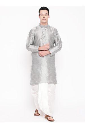 Mag Men Grey & White Solid Kurta with Dhoti Pants