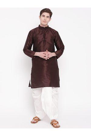 Mag Men Burgundy & White Solid Kurta with Dhoti Pants