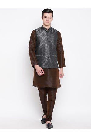 Mag Men Brown & Charcoal Grey Solid Kurta with Churidar