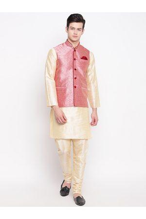 Mag Men Cream-Coloured & Pink Solid Kurta with Churidar & Nehru Jacket