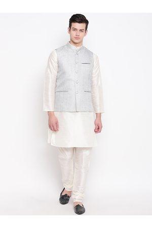 Mag Men Cream-Coloured & Grey Solid Kurta with Churidar & Nehru Jacket