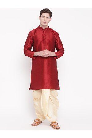 Mag Men Maroon & Cream-Coloured Solid Kurta with Dhoti Pants