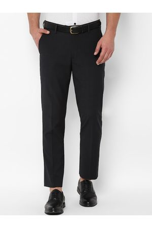 Simon Carter Men Black Slim Fit Checked Formal Trousers