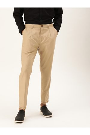 Mr Bowerbird Men Beige Tailored Fit Solid Regular Trousers