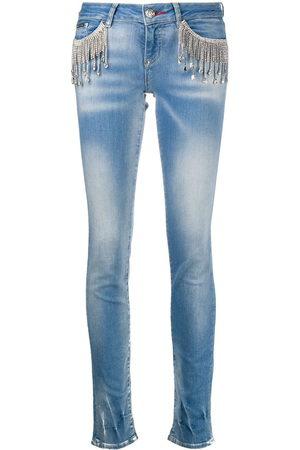Philipp Plein Crystal-fringe slim-fit jeans