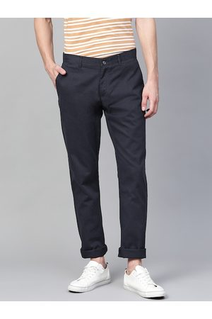 Blackberrys Men Navy Blue Regular Fit Low-Rise Solid Chinos