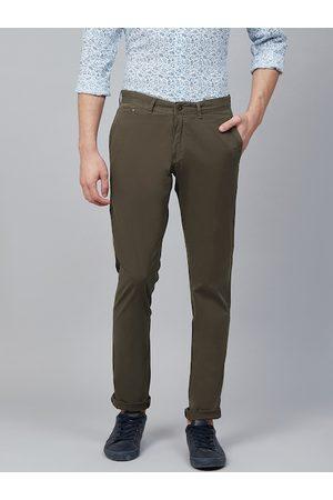 Blackberrys Men Olive Green Slim Tapered Fit Solid Regular Trousers