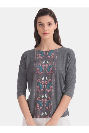 Cherokee Women Grey Embroidered Knitted Top