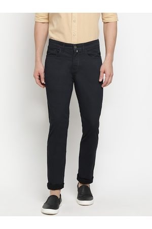 Pepe Jeans Men Navy Blue Regular Fit Solid Bootcut Trousers