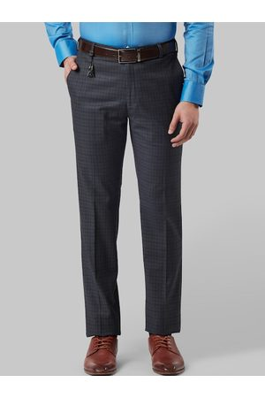 Raymond Weil Men Navy Blue & Olive Green Slim Fit Checked Formal Trousers