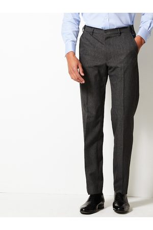 Marks & Spencer Men Charcoal Grey Regular Fit Solid Formal Trousers