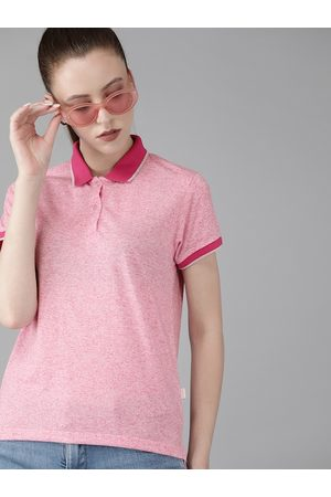 Pepe Jeans Women Pink Solid Polo Collar T-shirt