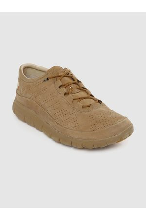 Woodland Men Camel Brown Suede Perforated Sneakers