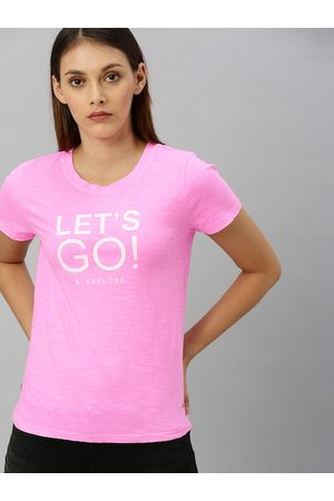 Pepe Jeans Women Pink Printed Round Neck T-shirt