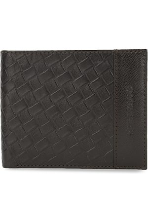 Peter England Men Brown Textured Two Fold Leather Wallet