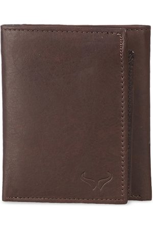 Bern Men Brown Leather Solid Three Fold Wallet