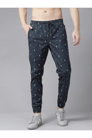 Roadster Men Navy Blue & White Regular Fit Printed Joggers