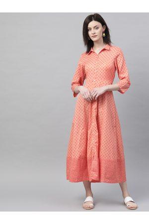 Rangriti Women Orange & Magenta Printed Shirt Dress