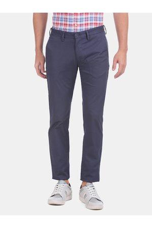 Ralph Lauren Men Navy Blue Slim Fit Solid Regular Trousers