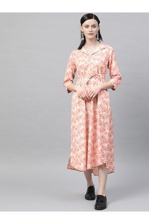 Rangriti Women Cream-Coloured & Orange Floral Print Shirt Dress