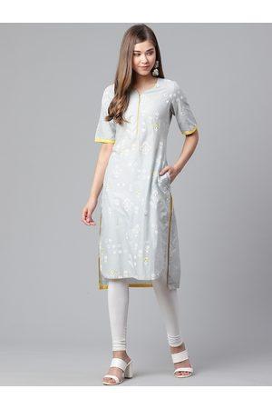 Rangriti Women Grey & White Printed High-Low Straight Kurta