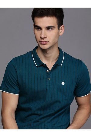 WROGN Men Teal Blue Striped Slim Fit Polo Collar T-shirt