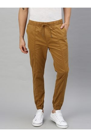 WROGN Men Khaki Slim Fit Solid Joggers