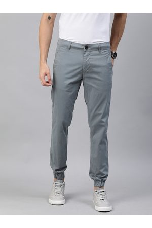 WROGN Men Grey Regular Fit Solid Joggers