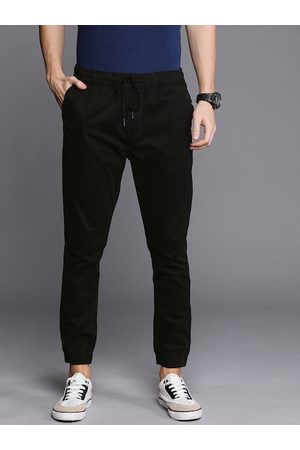 WROGN Men Black Regular Fit Solid Joggers