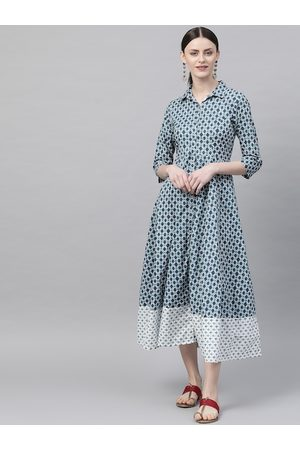Rangriti Women Blue Printed Shirt Dress