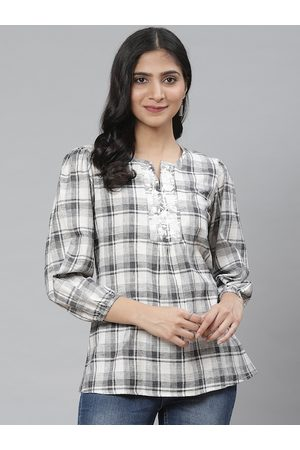 Rangriti Women Grey & Off-White Puff-Sleeved Checked Top
