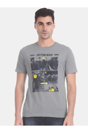 Cherokee Men Short Sleeve - Men Grey Printed Round Neck T-shirt