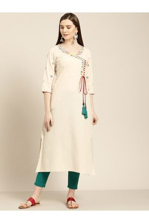 Jaipur Women Off-White & Green Solid Angrakha Kurta with Trousers